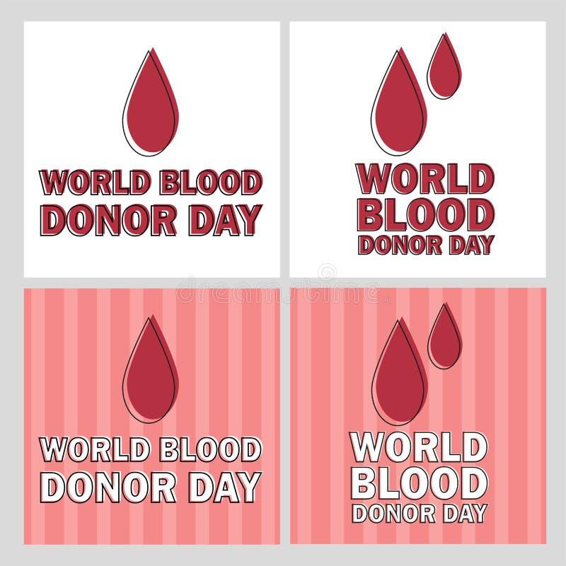 Vektorillustration av Donate blodbegreppet med röd droppe - världsblodgivaredag stock illustrationer