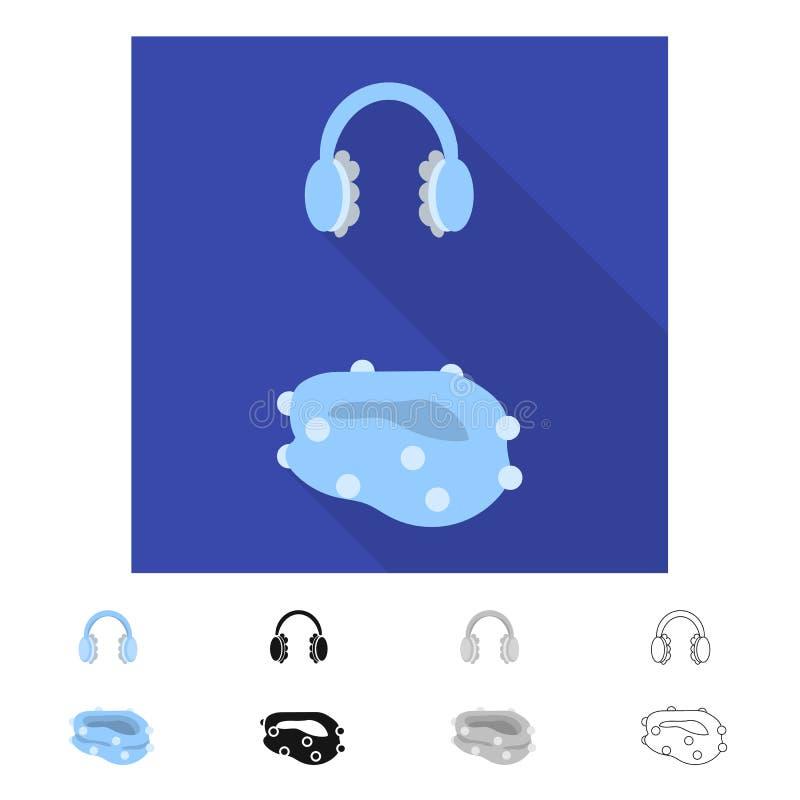 Vektorillustration av earmuff- och halsduklogoen Samlingen av earmuffen och blått lagerför vektorillustrationen stock illustrationer