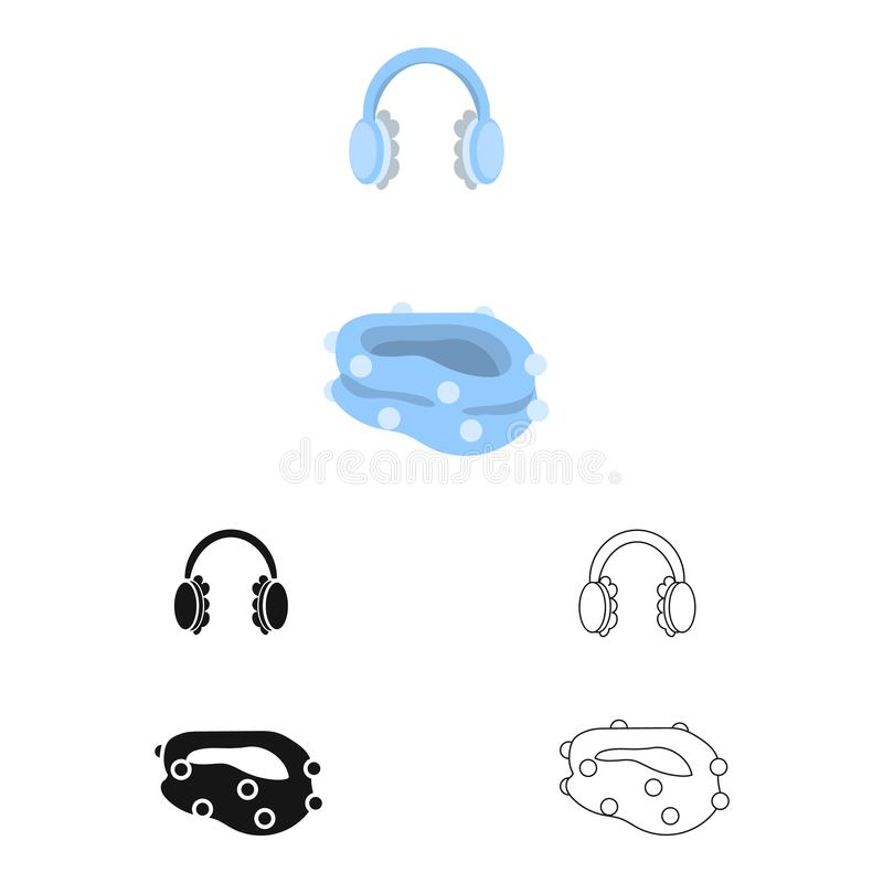 Vektorillustration av earmuff- och halsduksymbolen Samlingen av earmuffen och blått lagerför symbolet för rengöringsduk royaltyfri illustrationer