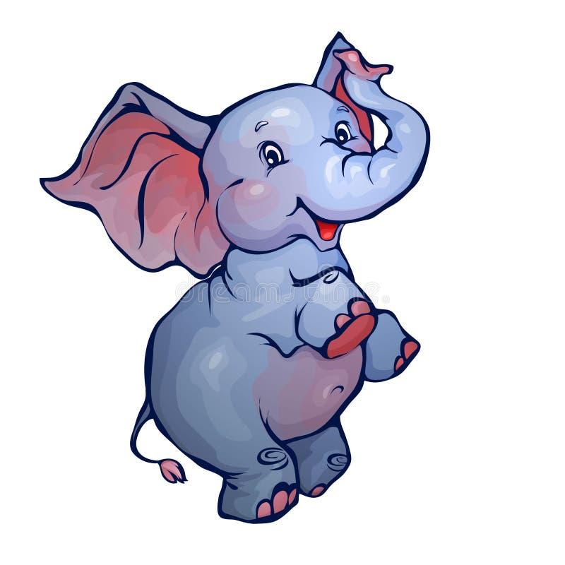 Vektorillustration av elefanten i tecknad filmstil stock illustrationer