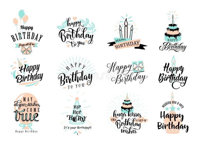 Vektorillustration av emblemuppsättningen för lycklig födelsedag vektor illustrationer
