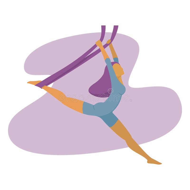 Vektorillustration av en övande luftyoga för slank flicka vektor illustrationer