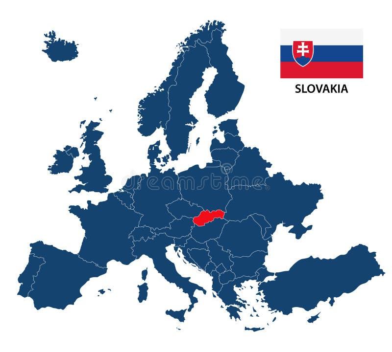 Vektorillustration av en översikt av Europa med markerade Slovakien vektor illustrationer