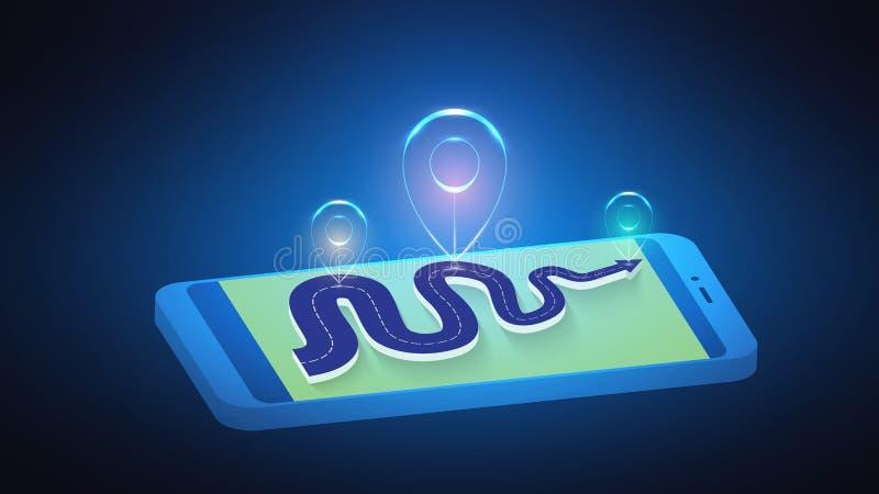 Vektorillustration av en abstrakt ljusmarkör på en väg på en mobiltelefon Väg, väg, karta, destination stock illustrationer