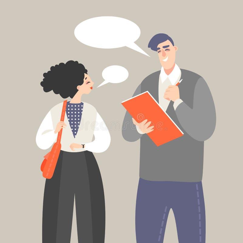 Vektorillustration av en allmän opinionröstning med en man som rymmer ett frågeformulär och frågar en kvinna frågor royaltyfri illustrationer