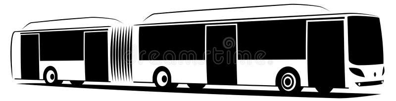Vektorillustration av en artikulerad stadsbuss med tre dörrar stock illustrationer