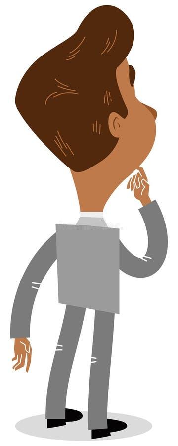 Vektorillustration av en asiatisk tecknad filmaffärsman som beskådas från baksidan som grubblar med fingret på hans haka vektor illustrationer