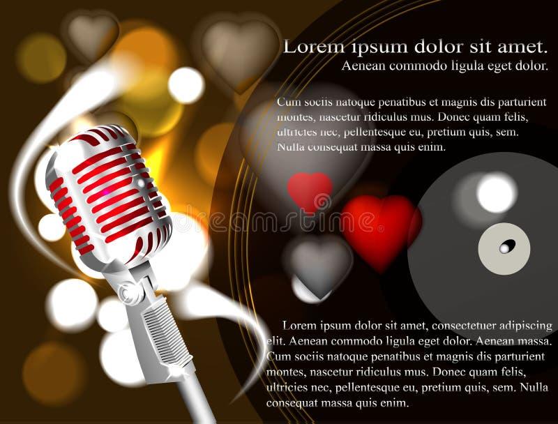Vektorillustration av en begreppskaraoke, mikrofon, sång, konsert vektor illustrationer