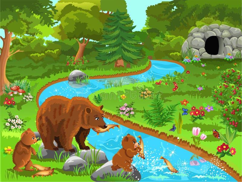 Vektorillustration av en björnfamilj som kommer till floden att äta fisken stock illustrationer