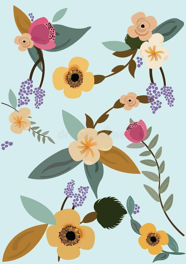 Vektorillustration av en blå bakgrund med blommor och sidor royaltyfri illustrationer