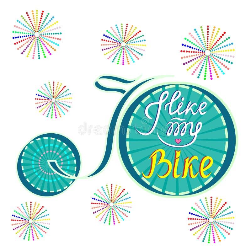Vektorillustration av en cykel Jag gillar min cykel-inskrift arkivfoto
