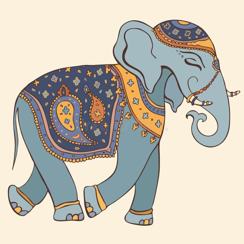 Vektorillustration av en elefant. Indisk stil