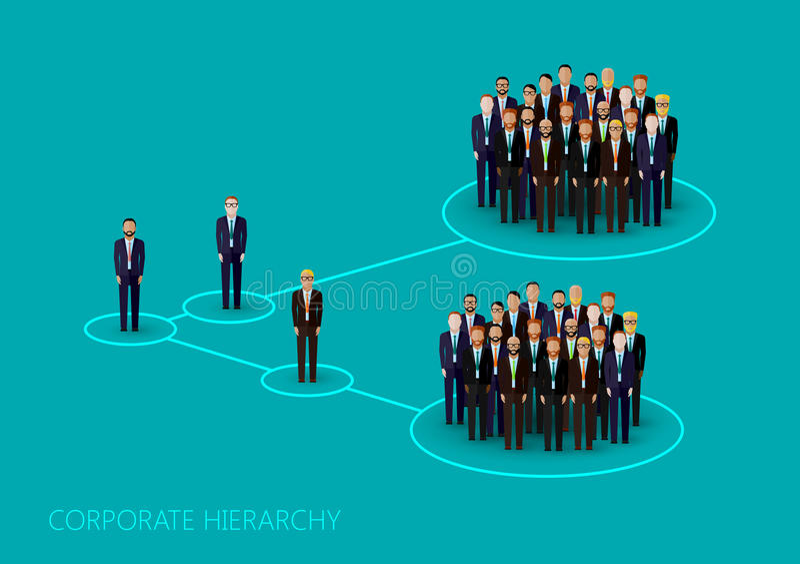 Vektorillustration av en företags hierarkistruktur Schacket figurerar bishops ledning- och personalorganisation stock illustrationer