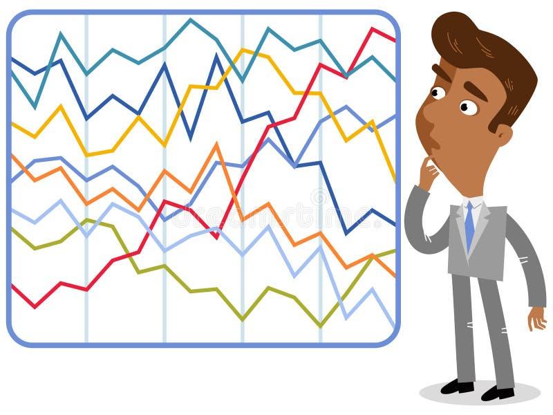 Vektorillustration av en förvirrad asiatisk tecknad filmaffärsman som ser invecklad färgrik statistik vektor illustrationer