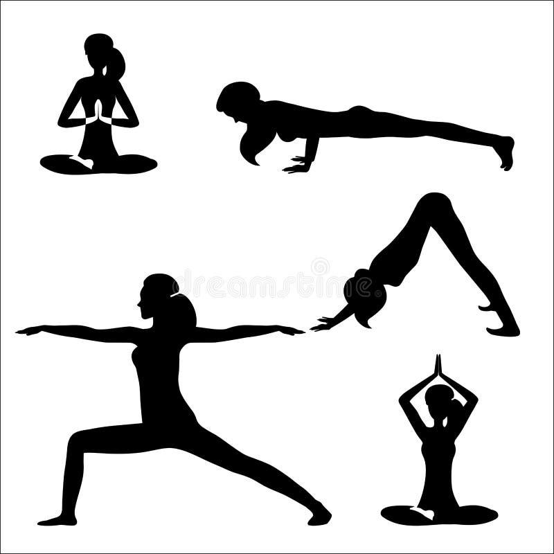 Vektorillustration av en fastställd flicka som gör yoga och att meditera Svarta konturer av flickan som isoleras på vit bakgrund vektor illustrationer