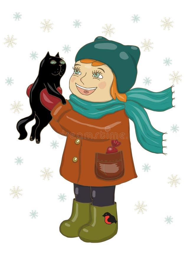 Vektorillustration av en flicka i vinterkläder som rymmer en svart katt Jubla, skratta, snöflingor faller Feriekort, lyckligt nyt stock illustrationer
