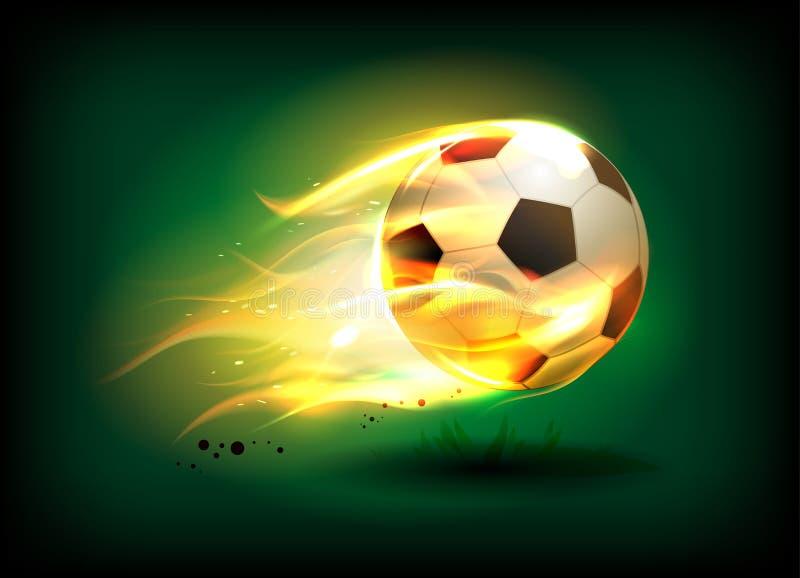Vektorillustration av en fotboll, fotbollboll i en brännhet flamma på ett grönt fält stock illustrationer