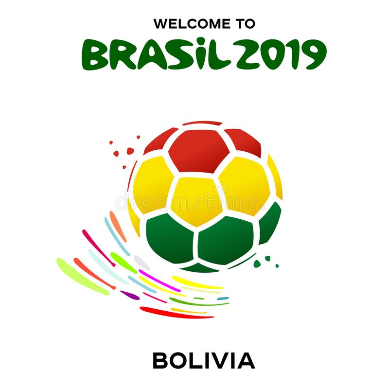 Vektorillustration av en fotbollboll i färgerna stock illustrationer