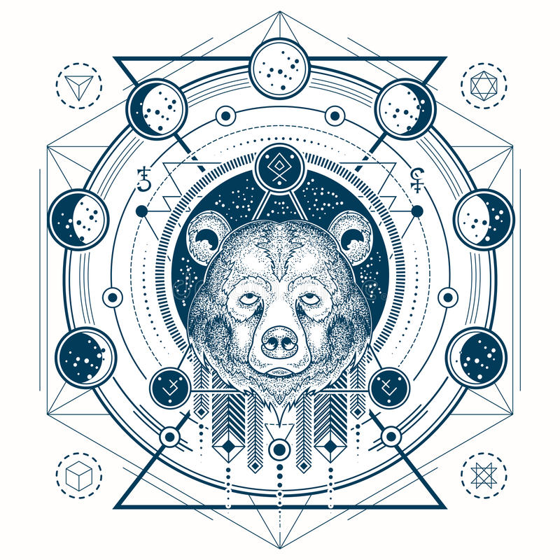 Vektorillustration av en främre sikt för geometrisk tatuering av för björn s faser för ett huvud och måne vektor illustrationer