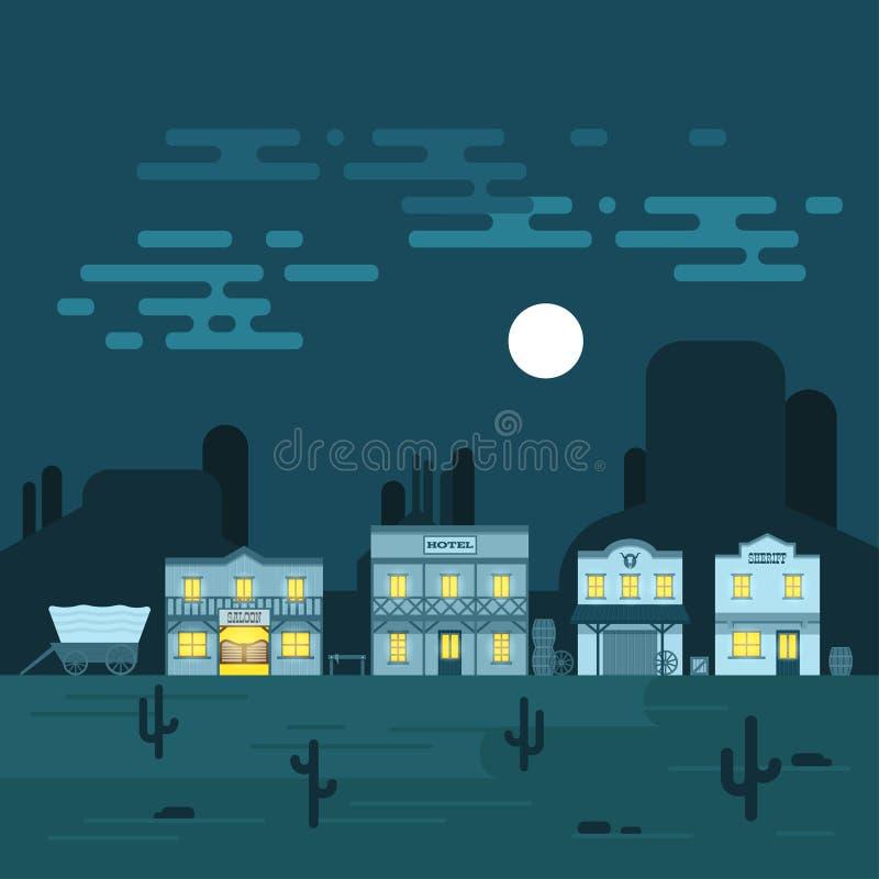 Vektorillustration av en gammal västra stad på natten vektor illustrationer