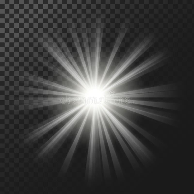 Vektorillustration av en glödande ljus effekt för vit med strålar royaltyfri illustrationer