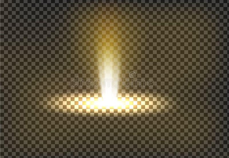 Vektorillustration av en guld- ljus stråle, en ljus stråle royaltyfri illustrationer