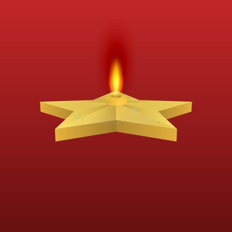 Vektorillustration av en guld- stjärna med brand stock illustrationer