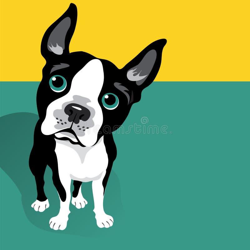 Vektorillustration av en gullig Boston Terrier hund stock illustrationer