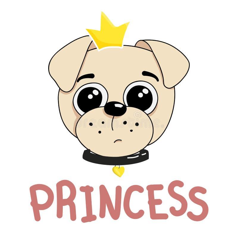 Vektorillustration av en gullig rolig hund som bär en krona och en krage arkivfoton