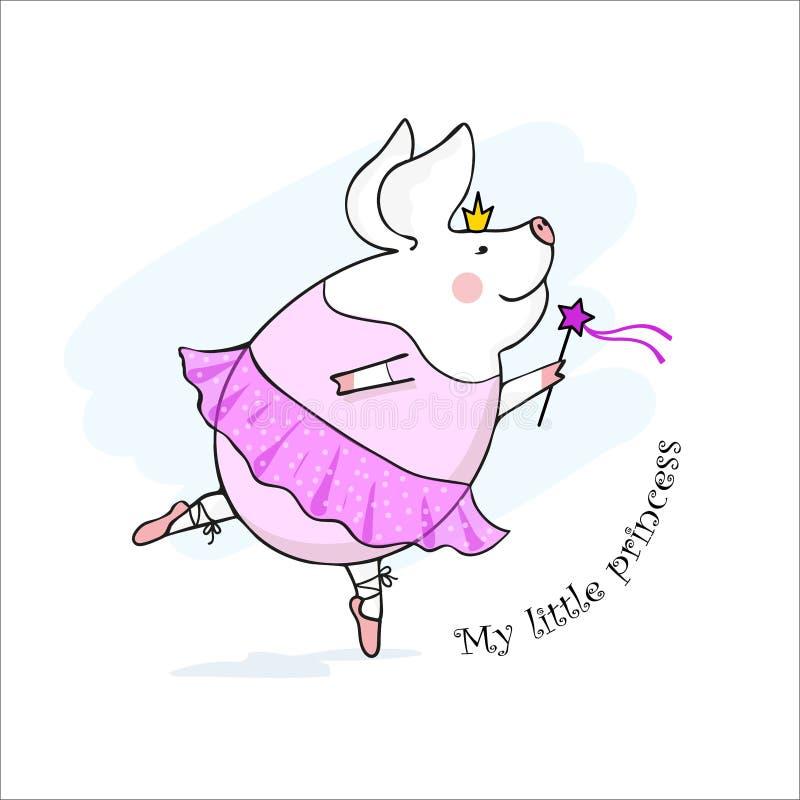 Vektorillustration av en gullig svinprinsessa med en trollspö, liten svinballerinadans i en rosa klänning, tecknad filmdesign vektor illustrationer
