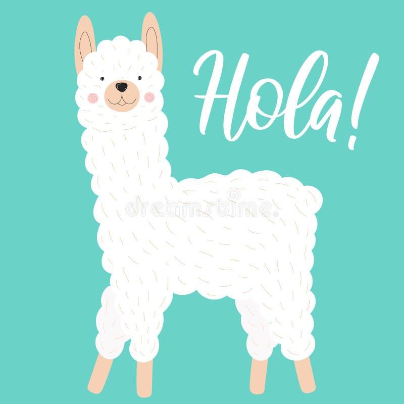 Vektorillustration av en gullig vit lama eller alpaca på en blå bakgrund med inskriften Hola Bild på söder - amerikanskt tema royaltyfri illustrationer