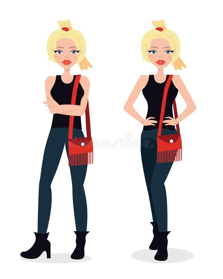 Vektorillustration av en härlig blond flicka i blossad jeans, punkrock, modeflicka, i tillfällig dräkt Plan stil royaltyfri illustrationer