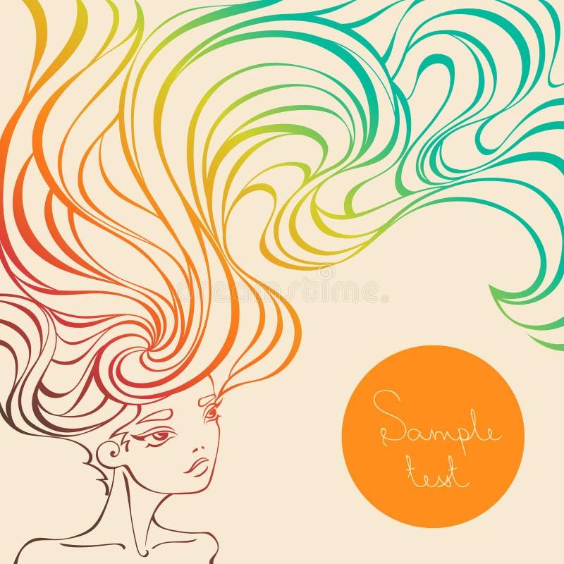 Vektorillustration av en härlig flicka med långt krabbt hår stock illustrationer