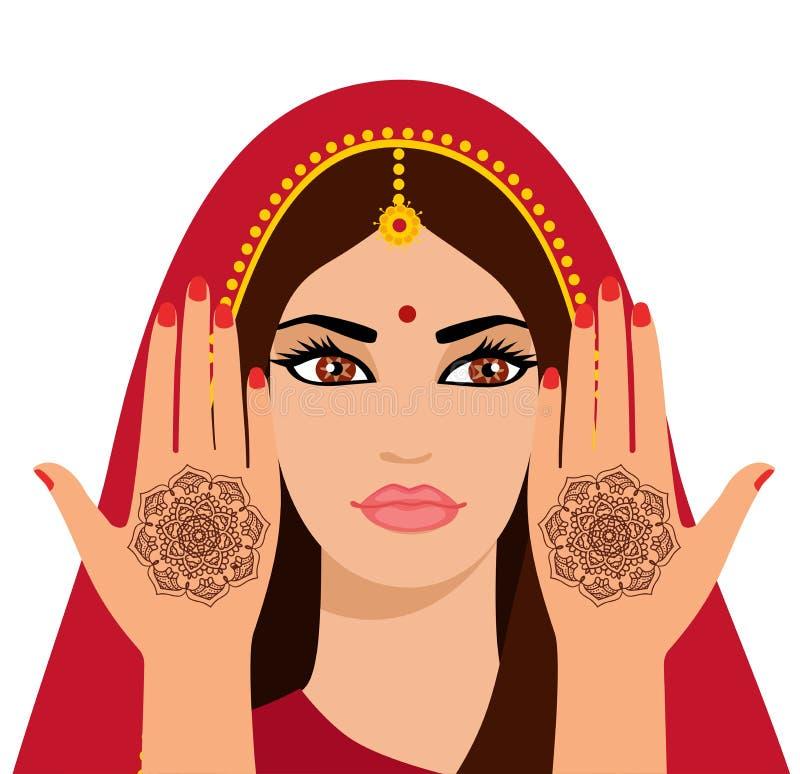 Vektorillustration av en härlig indisk kvinna med långt hår Händer för beståndsdelyogamudra med mehendimodeller Vektorillustrati royaltyfri illustrationer