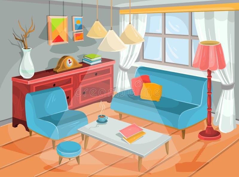 Vektorillustration av en hemtrevlig tecknad filminre av ett hemrum, en vardagsrum royaltyfri illustrationer