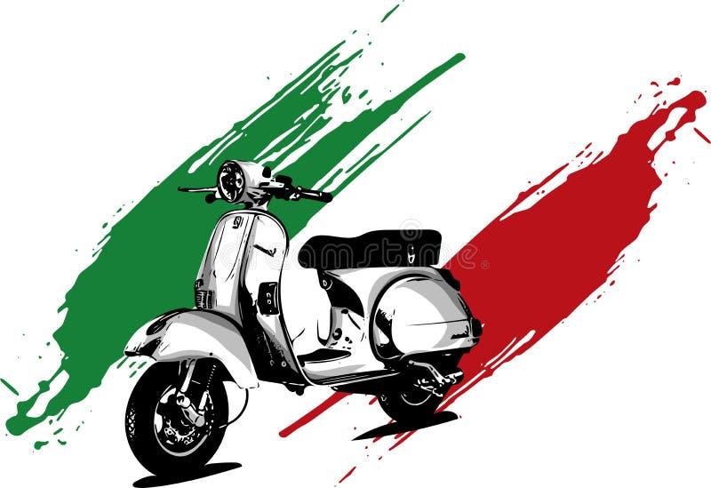 Vektorillustration av en italiensk sparkcykel med flaggan vektor illustrationer