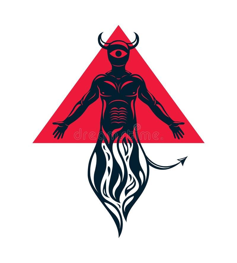 Vektorillustration av en jäkel, ond ande för mystiker Människa royaltyfri illustrationer