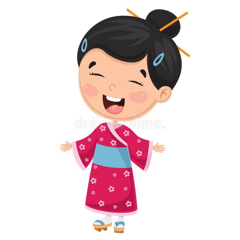 Vektorillustration av en japansk unge royaltyfri illustrationer