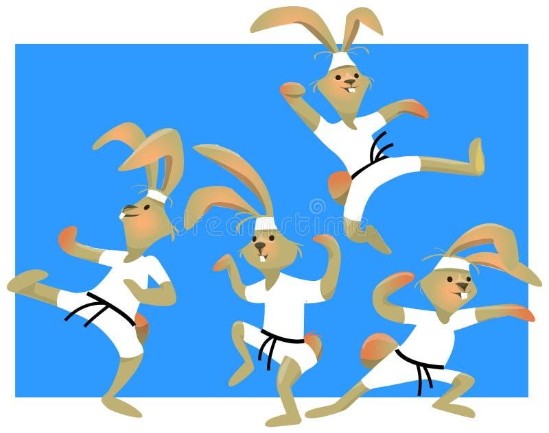 Vektorillustration av en kanin med karatenunchucks stock illustrationer