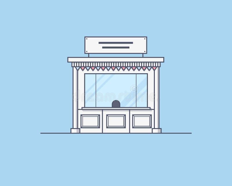 Vektorillustration av en kiosk Handla och marknad royaltyfria bilder