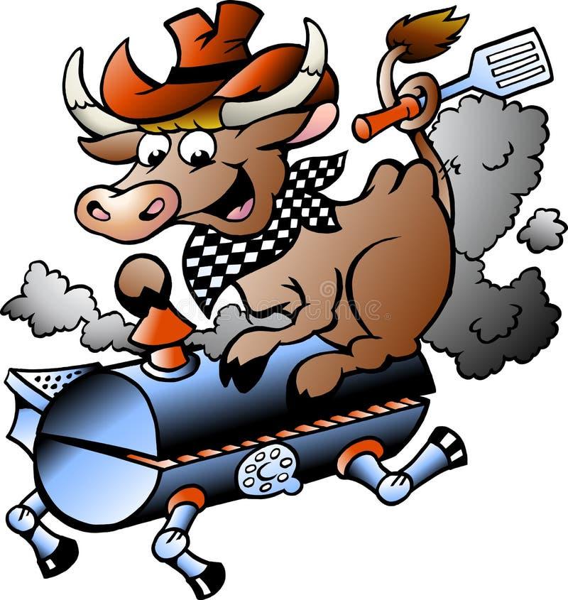 Vektorillustration av en ko som rider en BBQ-trumma stock illustrationer