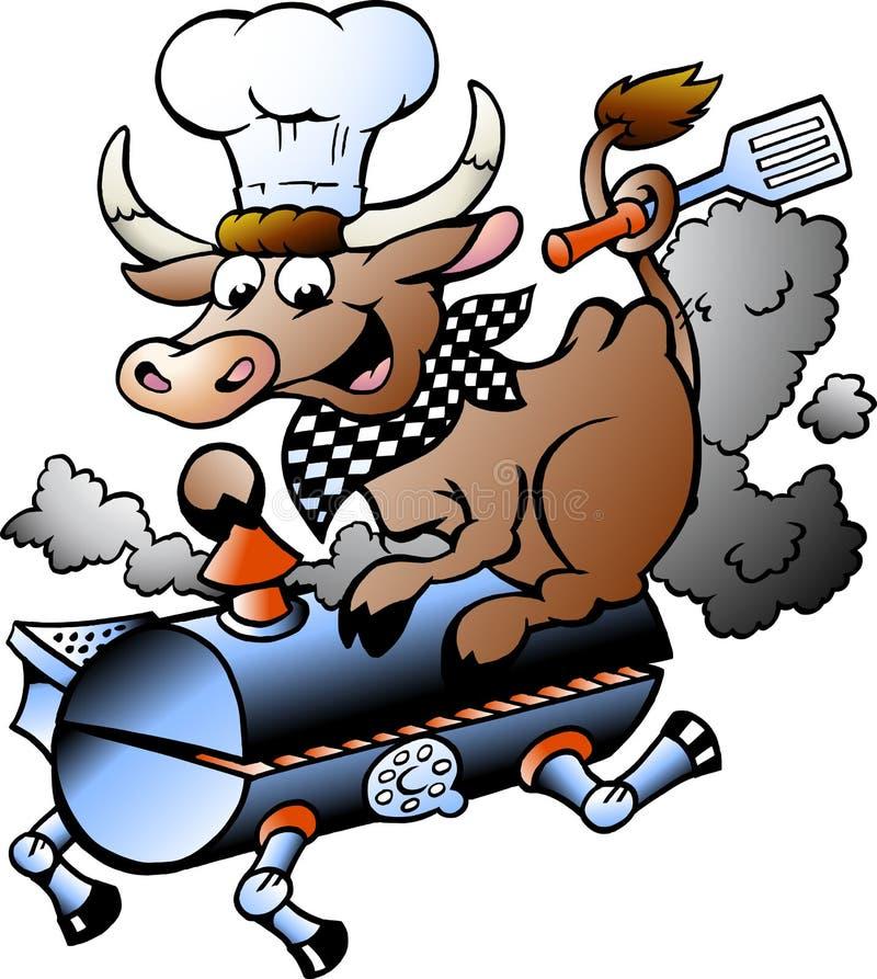 Vektorillustration av en kockko som rider en BBQ-trumma vektor illustrationer