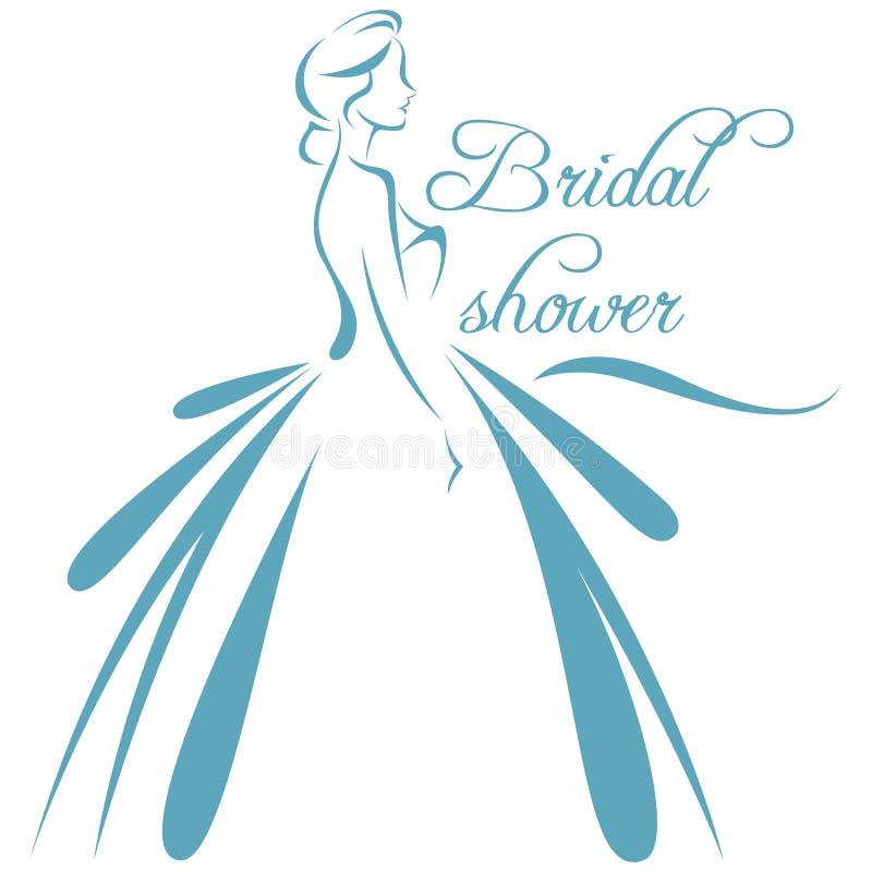 Vektorillustration av en kontur av en brud i dres för ett bröllop vektor illustrationer