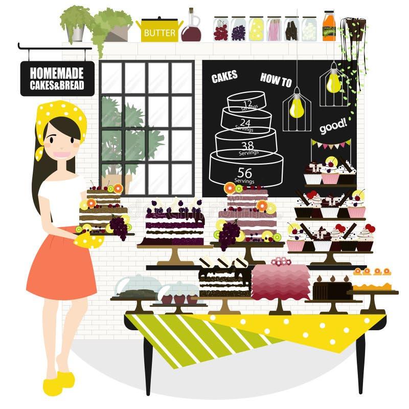 Vektorillustration av en kvinna som säljer kakor på ett bagerilager vektor illustrationer