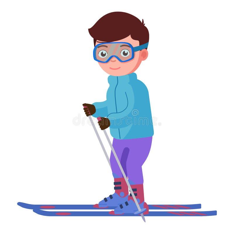 Vektorillustration av en le pojkeskidåkning vektor illustrationer