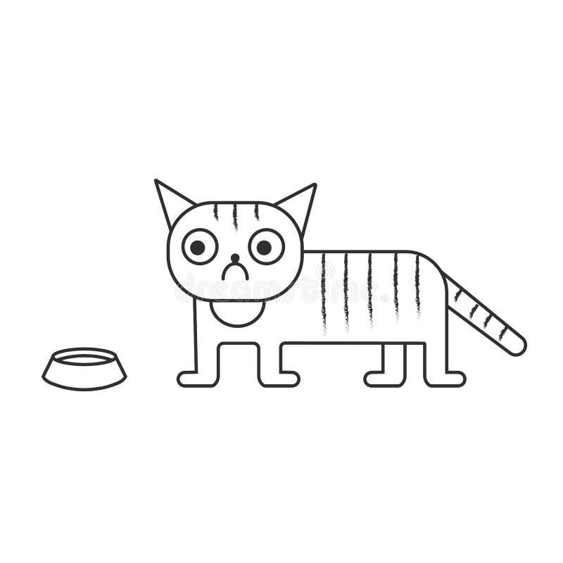Vektorillustration av en ledsen katt enkel stil arkivfoto