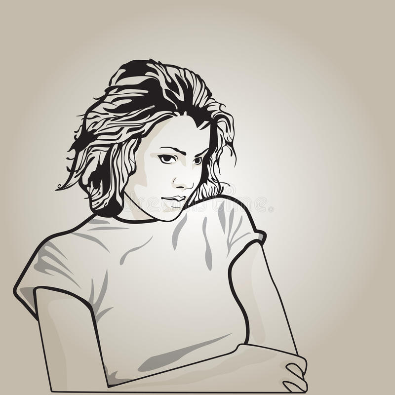 Vektorillustration av en ledsen kvinna royaltyfri illustrationer