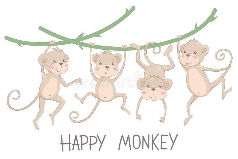 Vektorillustration av en lycklig apa och schimpans arkivbild