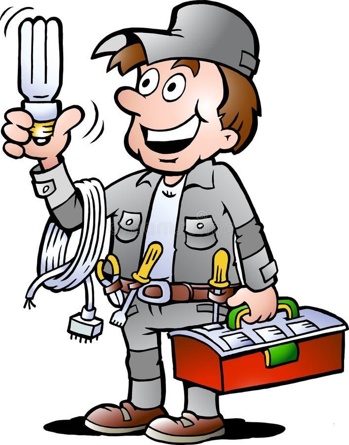 Vektorillustration av en lycklig elektrikerHandyman vektor illustrationer