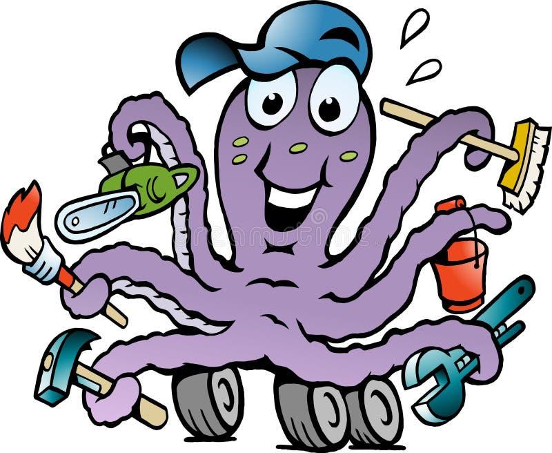 Vektorillustration av en lycklig upptagen bläckfisk vektor illustrationer